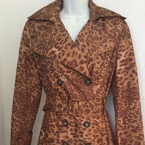 Calvin Klein Woman Trench Coat Animal Print Small